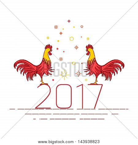 Greeting card with red cocks standing on 2017. Chinese New Year rooster decoration design template on white background.