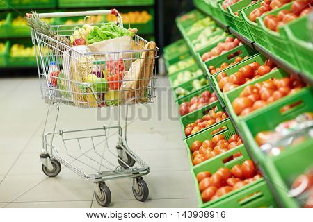 Trolley in grocery store