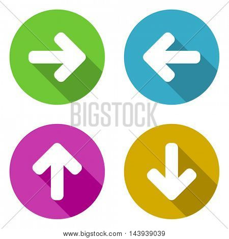 Flat design colorful arrows vector icon set