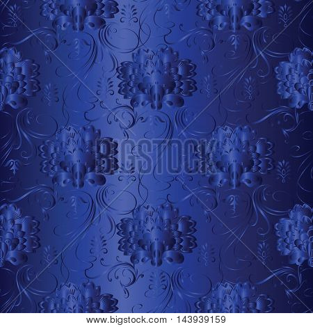 Dark blue monochrome modern  floral  vector seamless pattern with vintage  flowers and ornaments on the  dark blue background. Stylish  illustration and 3d vintage decor elements with shadow and highlights. Endless elegant  texture.
