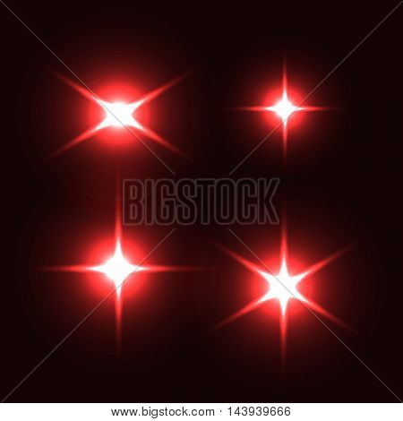 Collection of light effect.s Optical lens flare, flash, stars particles. Vector illustration.