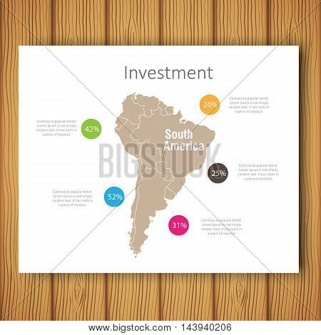 Infographic Investment South America Map Presentation Template, Business Layout design , Modern Style , Vector design illustration.