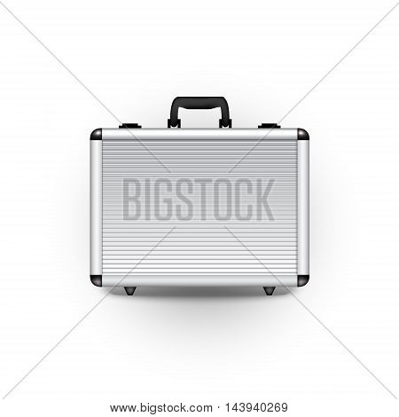 Vector metal briefcase office object design finance