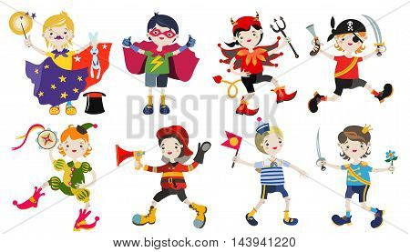 Amusing characters of boys in carnival costumes.Hand drawn vector illustration.Flat style.