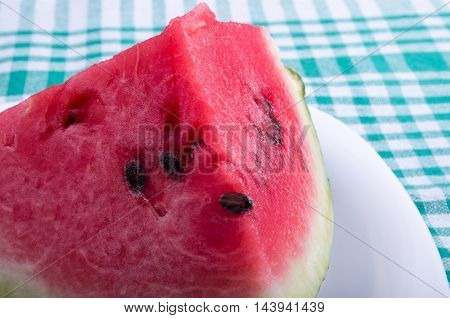 Big And Juicy Red Slice Of Watermelon