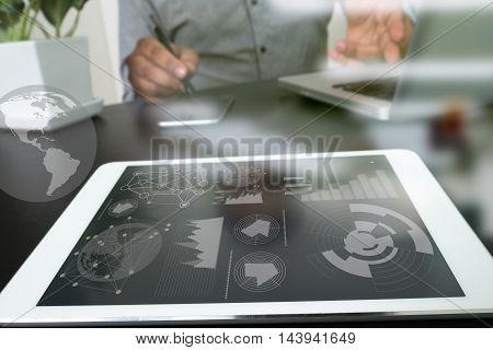 Designer Work Data And Digital Tablet And Computer Laptop