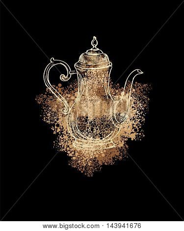 old coffee pot on a black background