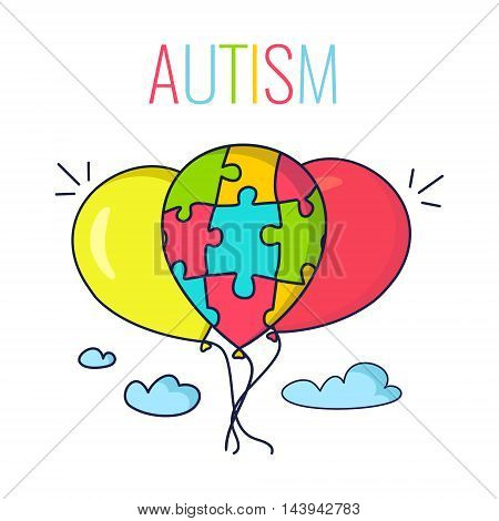 Autism awareness poster with colorful balloons in the sky. Balloon made of puzzle pieces as a symbol of Autism. Vector illustration.