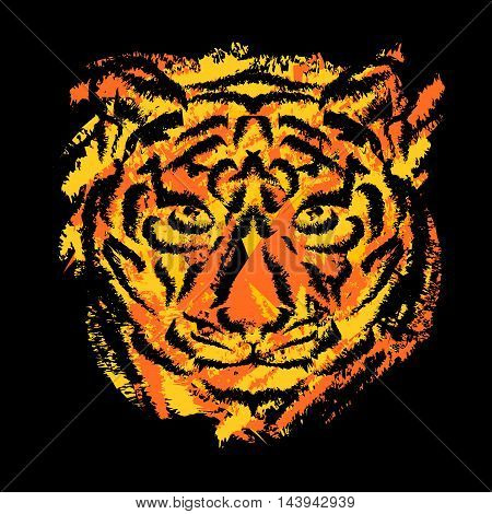 stylized tiger's muzzle on black background with orange and yellow stripes in grunge style