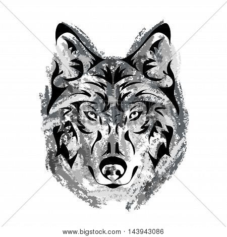 wolf's muzzle on white background in grunge style