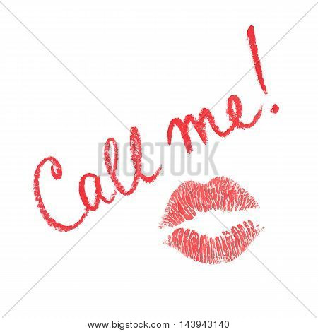 Vector note Call Me written in lipstick and lips print isolated