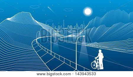 The road in the mountains, night scene, cyclist preparing for a trip, neon city on background, white lines landscape, vector design art