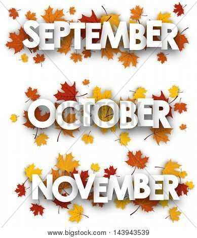 September, October, November banners with maple leaves. Vector paper illustration.