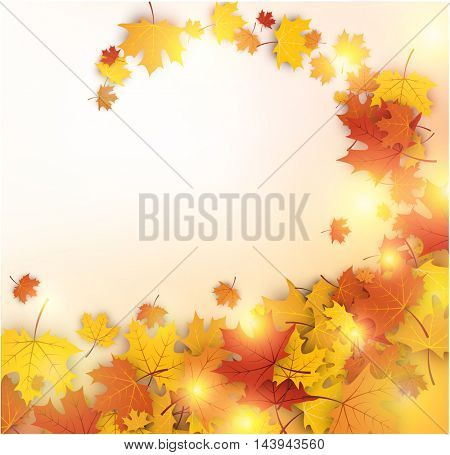 Autumn luminous background with golden maple leaves. Vector illustration.