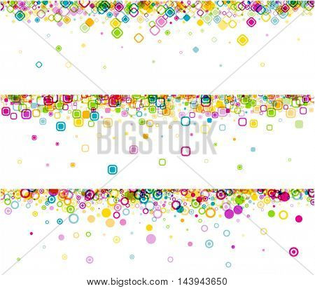 White banners set with colour geometric pattern. Vector paper illustration.