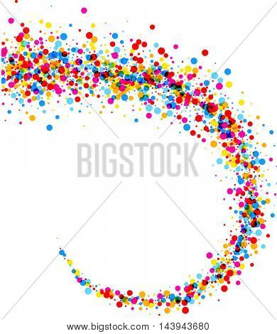 White paper background with swirl of color drops. Vector illustration.
