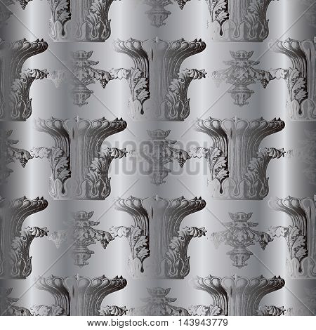 Antique grey vector seamless pattern with vintage dark grey medieval vases and ornaments on the light grey drapery  background. Stylish  illustration and 3d vintage decor elements with shadow and highlights. Endless elegant  texture.