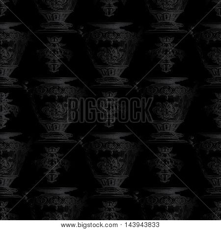 Dark black antique baroque  vector seamless pattern with vintage  black medieval vases and ornaments on black background. Stylish  luxury illustration and 3d vintage decor elements with shadow and highlights. Endless elegant  texture.