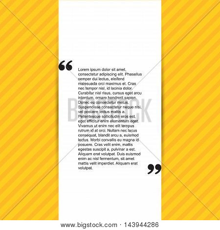Quote citation Typographical Template, vector design. Light yellow color version. For your commercial project or personal use.