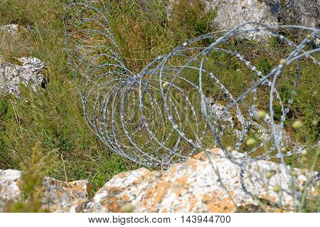 Modern barbed wire coils fence around a property.