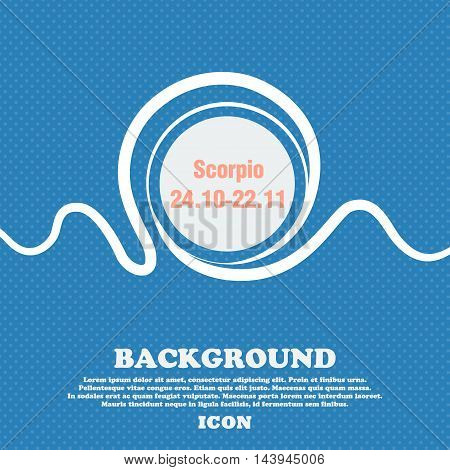 Scorpio Sign. Blue And White Abstract Background Flecked With Space For Text And Your Design. Vector