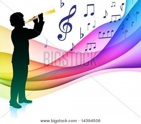 Flute Player on Musical Note Color Spectrum Original Vector Illustration
