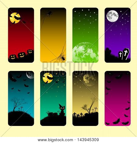 Collection of holiday banners on theme of Halloween. Frames with pumpkins bats spiders moon and crosses at night in different colors. Moon furnished by NASA. Trick or treat vector illustration