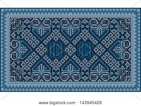 A refined luxurious vintage oriental carpet with dark blue and bluish shades