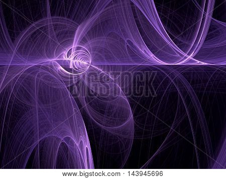 Abstract fractal background - computer-generated image. Digital art: Purple chaos glowing curves like clouds of smoke. For web design, posters, covers