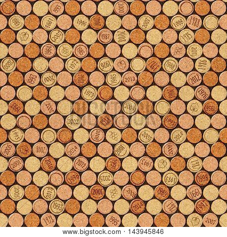 Decorative pattern of wine bottles corks - seamless background - wall panel pattern - texture cork