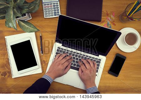 Close Up Of Business Man Hand Working On Blank Screen Laptop Computer