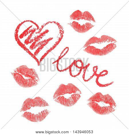 Vector set of red lipstick drawn hearts and kisses on white background