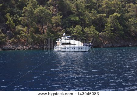FETHIYE, TURKEY,2ND AUGUST 2016,: Boat trips for tourists around the bays of fethiye in Turkey,2nd august 2016