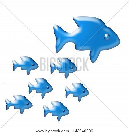 Blue fish on a white background .