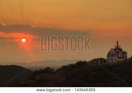 Sunset time at Phra Nakhon Khiri Phetchaburi province Asia Thailand