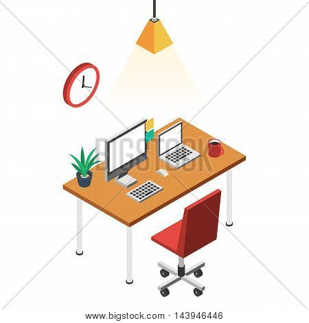 Desk with computer, comfortable office chair red and clock. Workplace freelance concept. Vector color illustration isometric flat style for the design of web banners and print promotions