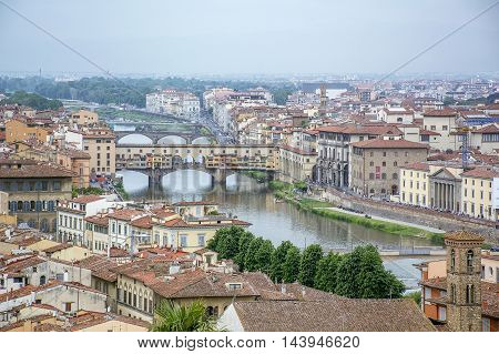Bridge on the River Arno in Florence in Italy