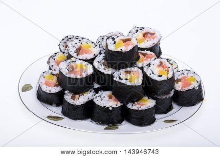 sushi fresh maki rolls isolated on white background