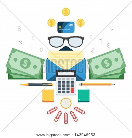 Finance set: calculator, money, paper, glasses, calendar, pen, credit card, envelope, tax. Concept invoice vector illustration in flat style design for web design banner on site or print