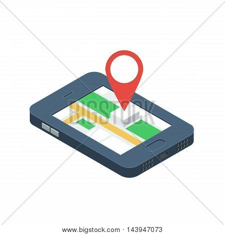 Mobile GPS navigation concept. Isometric Smartphone with city map application and marker pin pointer. Vector illustration isolated for white background