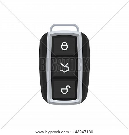 Modern car key with buttons to open trunk. Vector illustration sign isolated on white background