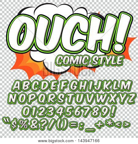 Comic alphabet set. Letters, numbers and figures for kids' illustrations websites comics banners.. Vector.