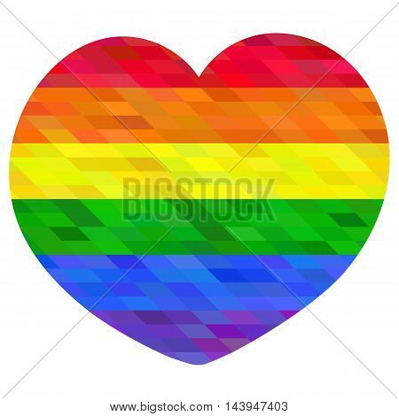 Polygon mosaic heart. LGBT flag. Colorful vector illustration.