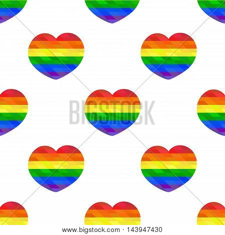 Polygon mosaic hearts seamless pattern. LGBT flag. Colorful vector illustration.