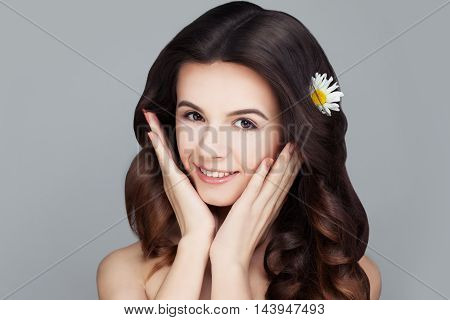 Spa Face. Healthy Woman with Clear Skin. Skincare Concept