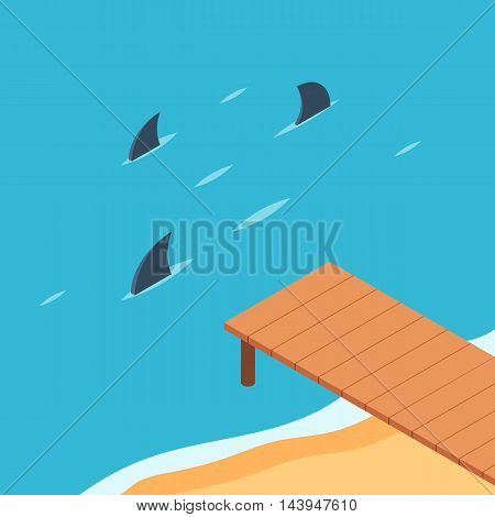 Pier by the ocean with sharks. Shark fins from the sea. The concept of danger and risk. Business metaphor. Vector color illustration isometric flat style for the design of web banners and print promotions