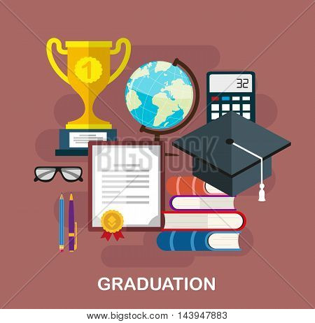 Set of objects that symbolize science and knowledge. Learning and education concept flat style illustration for web design layout banner diagram infographics.