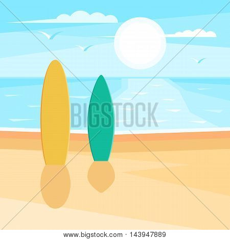 Sandy beach with surf. Sea landscape. Seagulls in the sky at sun. Vector illustration design for web banner, print promotional materials or greeting cards