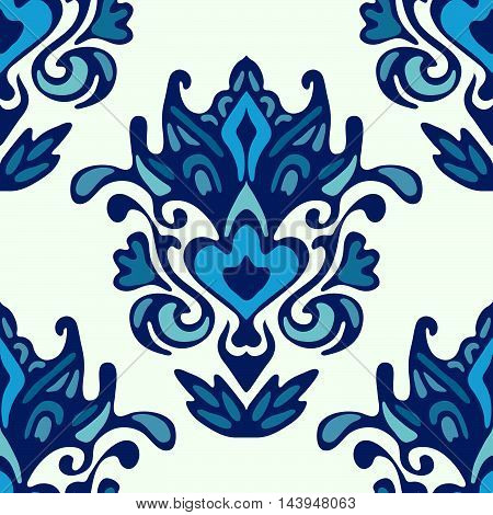 Luxury Damask flower seamless pattern blue background