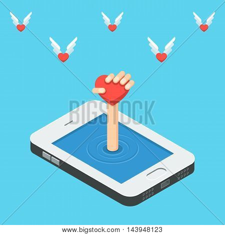 Isometric smartphone the concept of social media network. Heart in hand on the background of flying hearts. Vector illustration for design of web banners and promotional materials